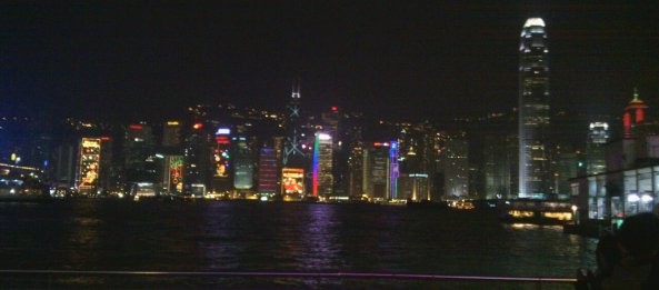 Lights & Laser Show on buildings in Hong Kong.