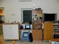 shoe cabinet, desk, tv