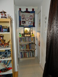bookshelf & Okim the Chameleon